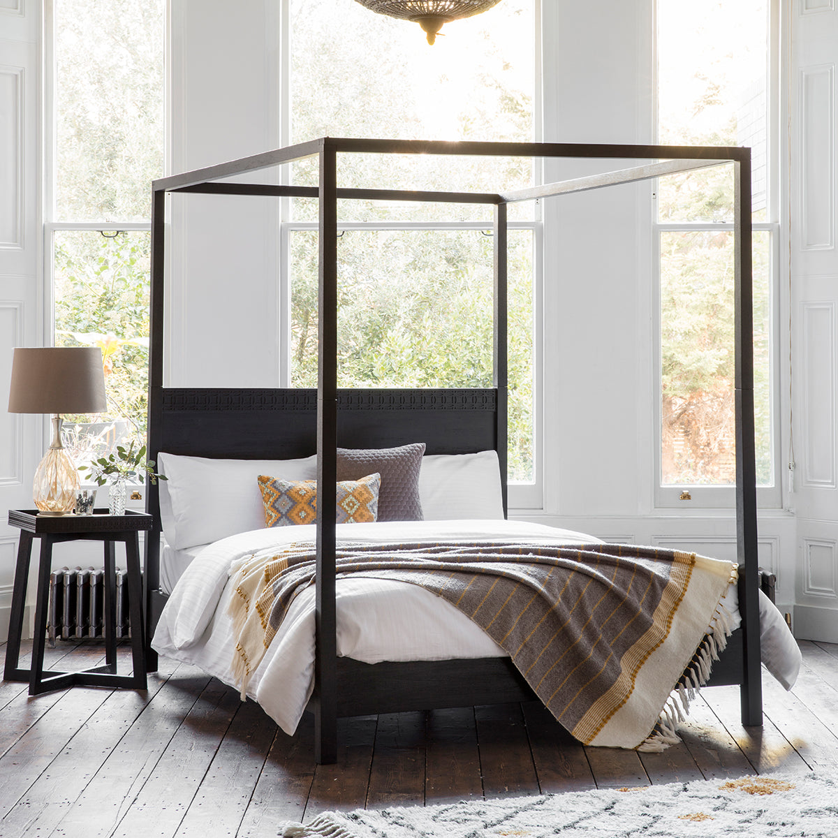 Greenwich 4 Poster King Size Bed in Dark Charcoal