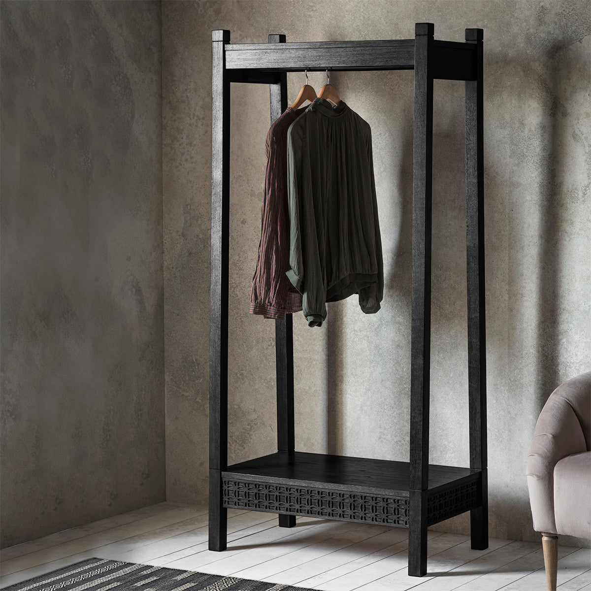 Greenwich Open Wardrobe in Dark Charcoal - Ezzo