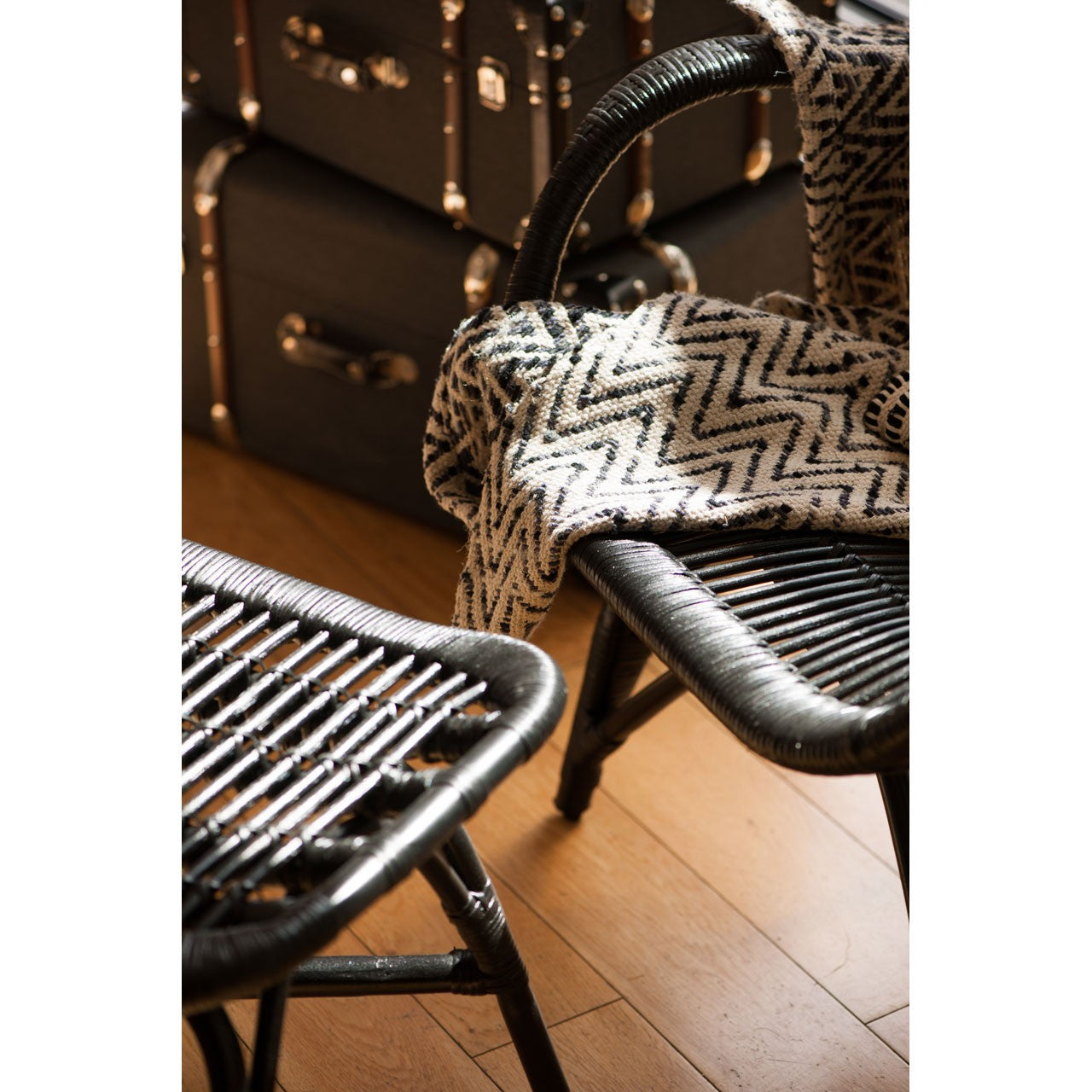 Havana Low Armchair and Footstool Black