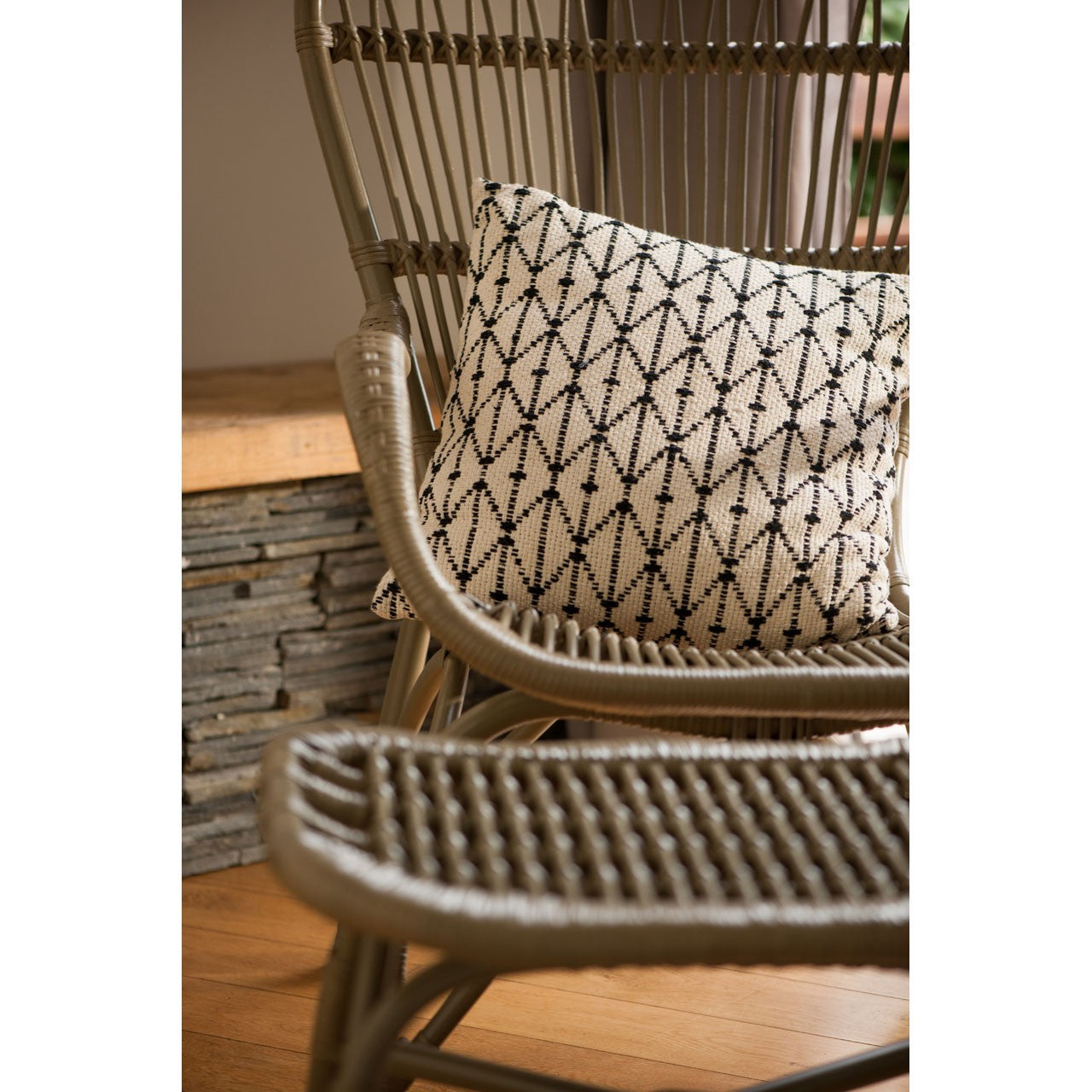 Havana Low Armchair and Footstool Grey