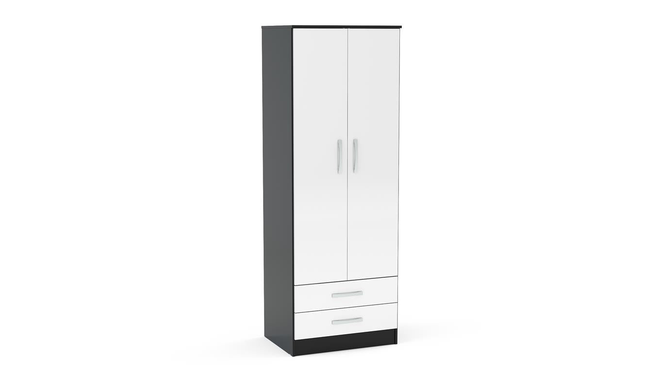 Heath 2 Door Combi Wardrobe in Black and White