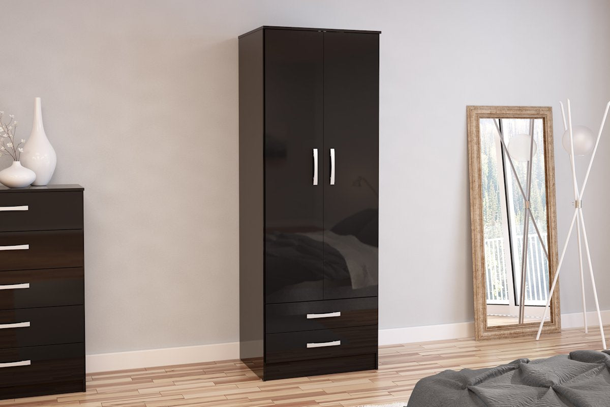 Heath 2 Door Combi Wardrobe in Black
