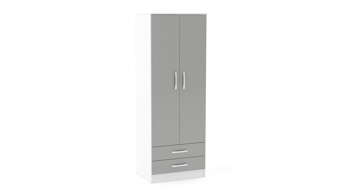 Heath 2 Door Combi Wardrobe in White and Grey