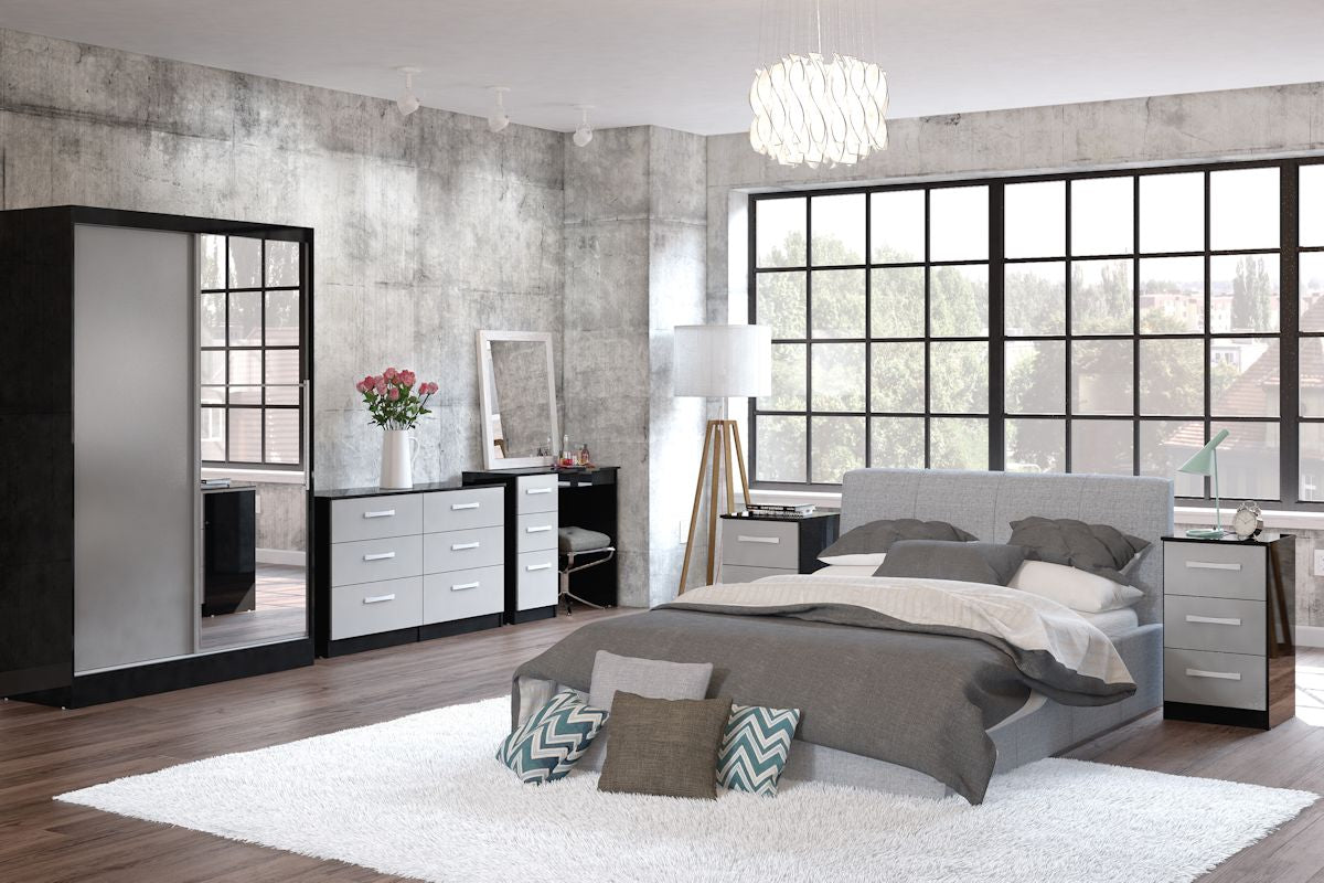 Heath 2 Door Wardrobe with Mirror in Black and White - Ezzo