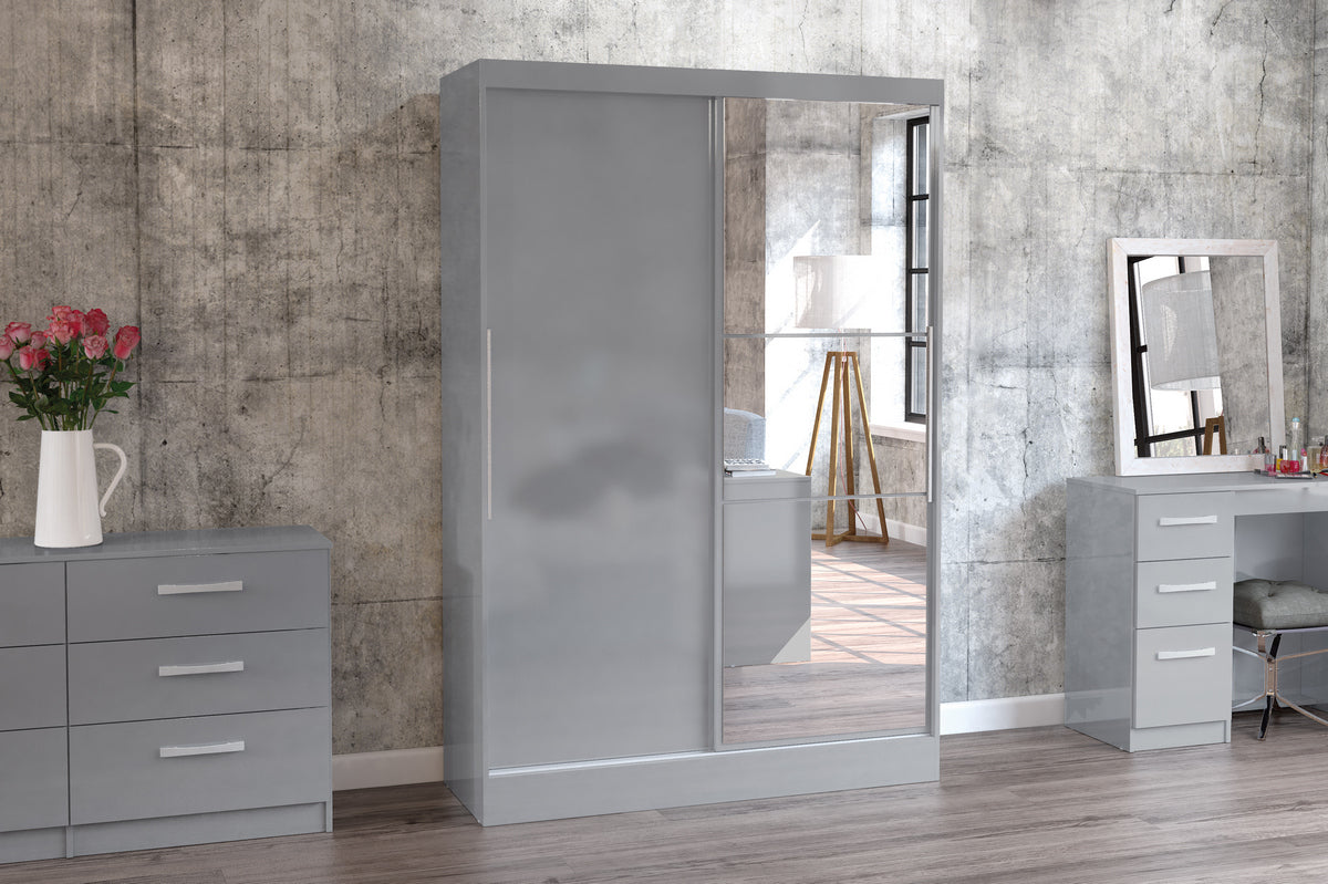 Heath 2 Door Wardrobe with Mirror in Grey