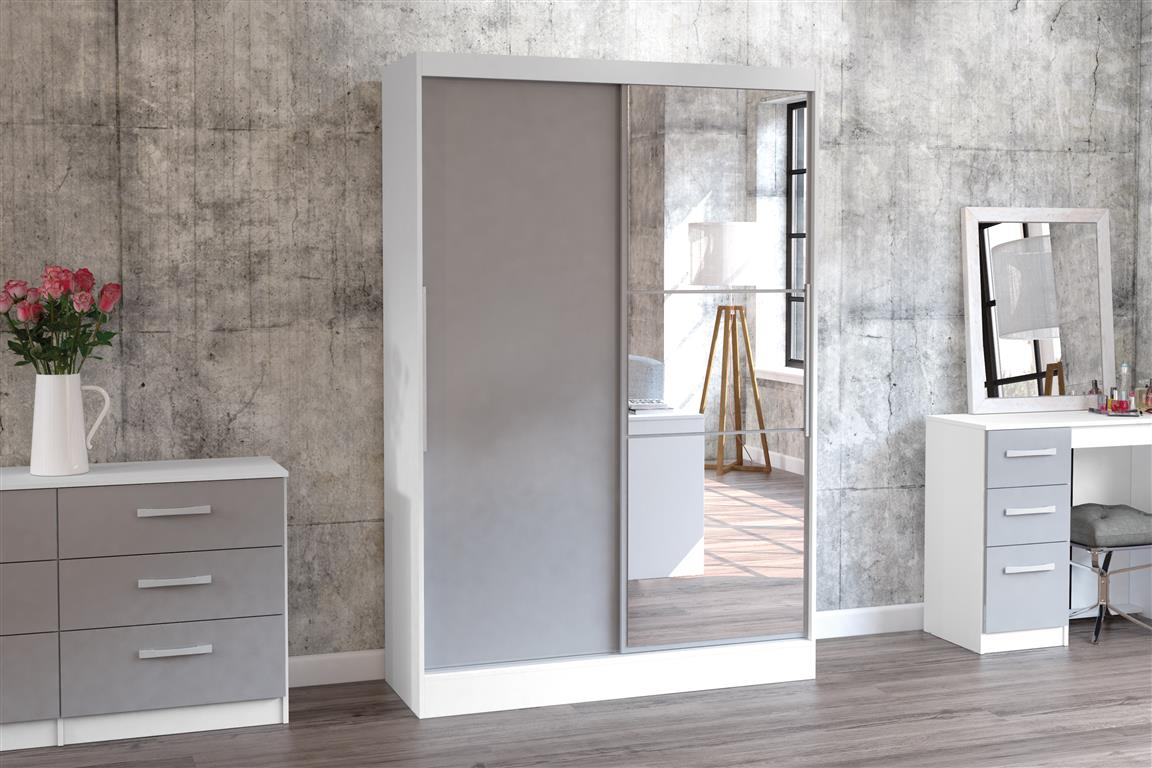 Heath 2 Door Wardrobe with Mirror in White and Grey - Ezzo