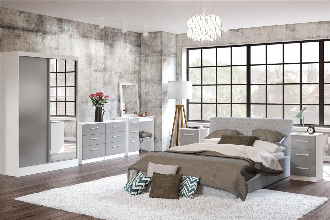 Heath 6 Drawer Chest in White and Grey - Ezzo
