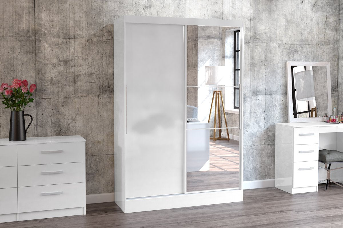 Heath 2 Door Wardrobe with Mirror in White - Ezzo