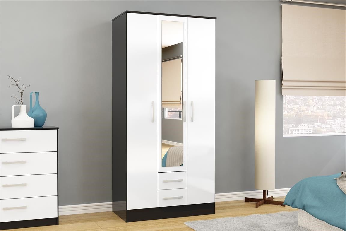 Heath 3 Door 2 Drawer Wardrobe with Mirror in Black and White - Ezzo