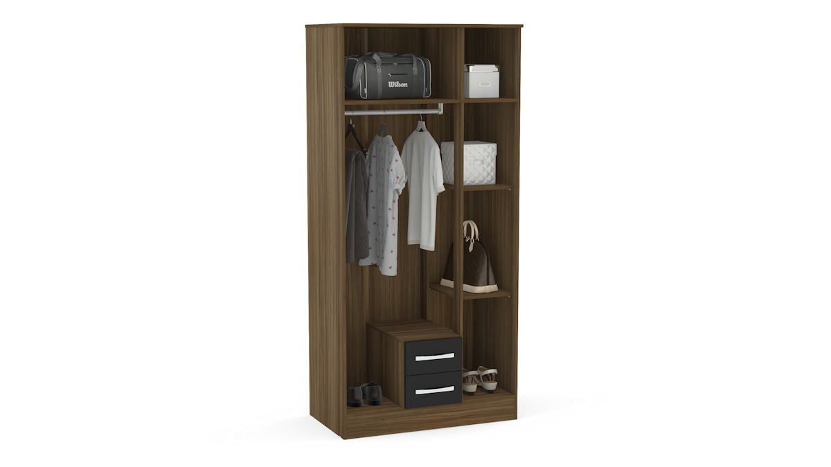 Heath 3 Door 2 Drawer Wardrobe with Mirror in Walnut and Black - Ezzo