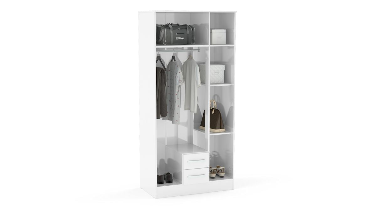Heath 4 Door 2 Drawer Wardrobe with Mirror in White - Ezzo