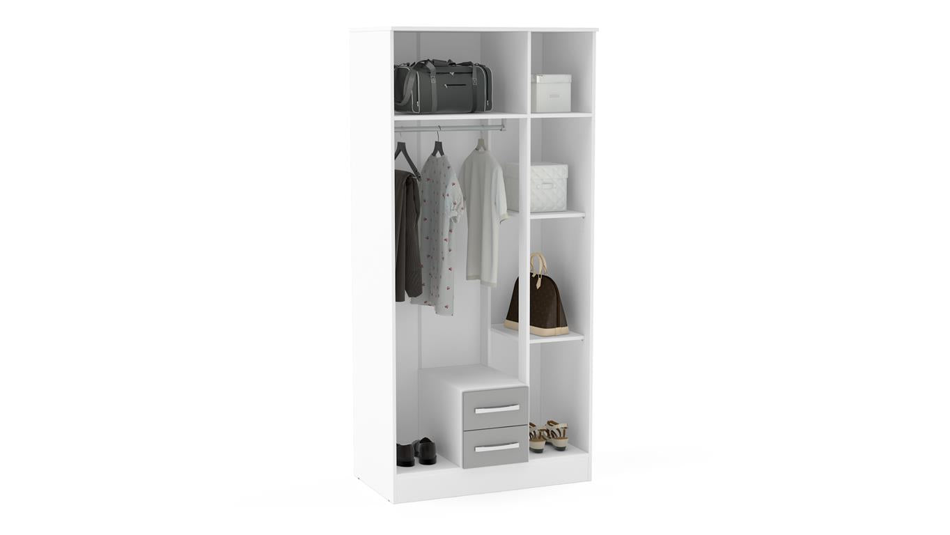 Heath 3 Door 2 Drawer Wardrobe with Mirror in White and Grey