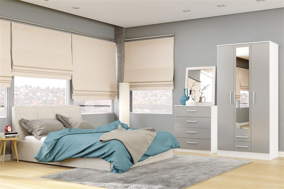 Heath 3 Door 2 Drawer Wardrobe with Mirror in White and Grey - Ezzo