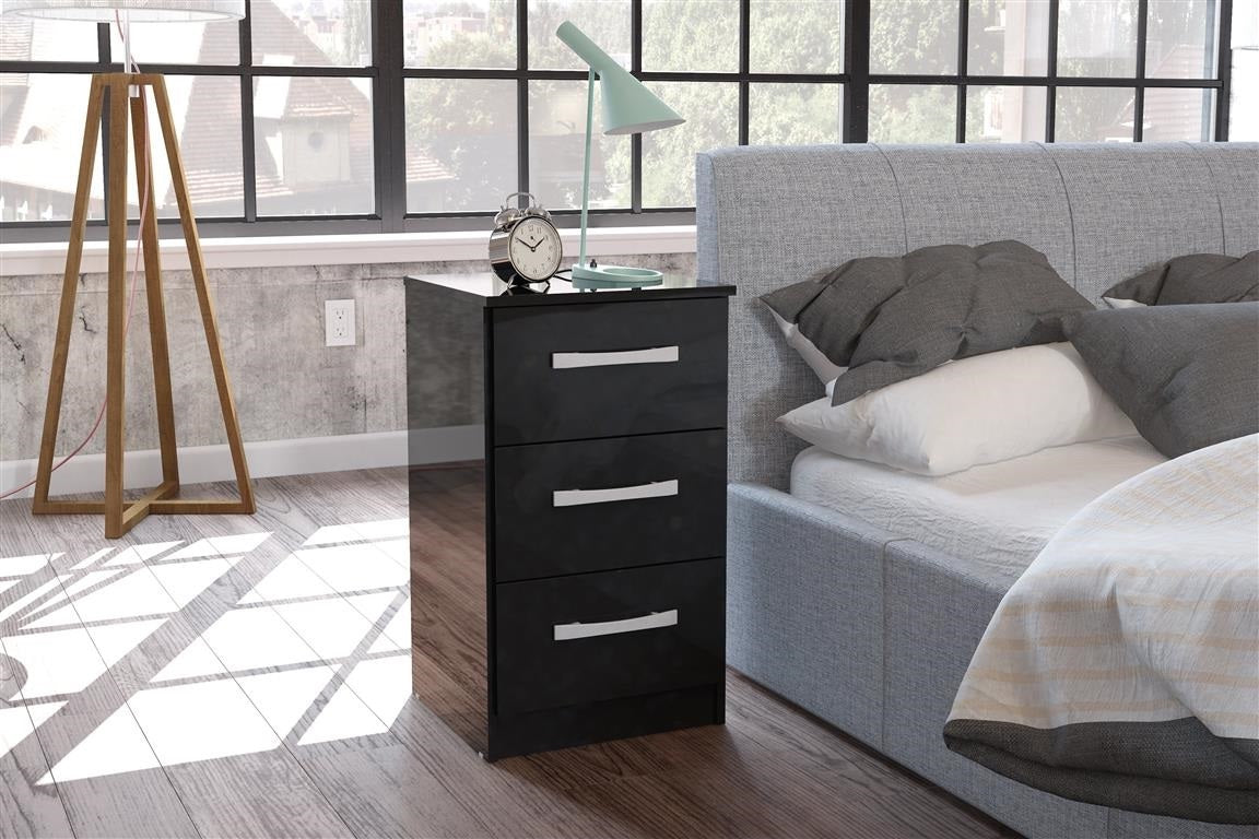 Heath 3 Drawer Bedside Cabinet in Black - Ezzo
