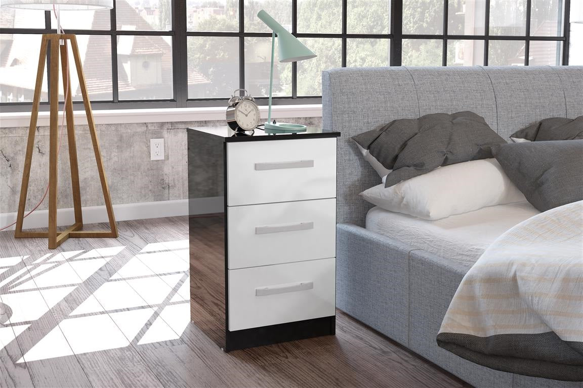 Heath 3 Drawer Bedside Cabinet in Black and White - Ezzo