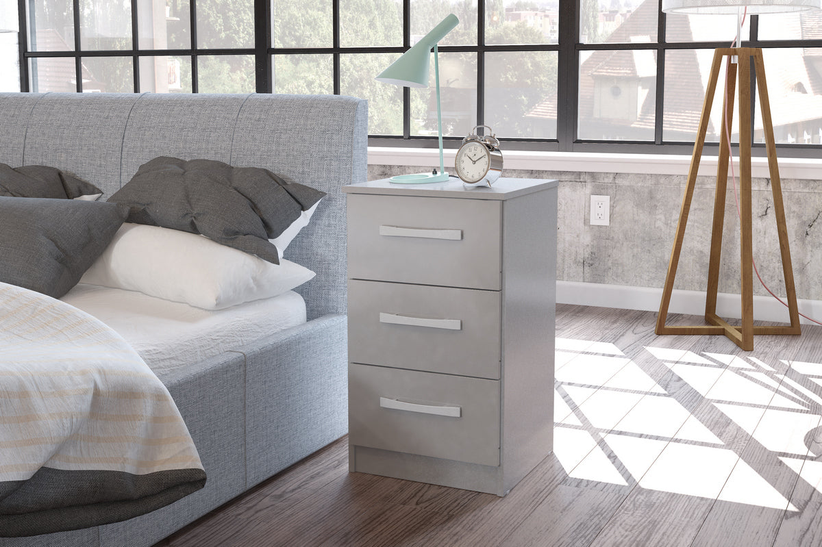 Heath 3 Drawer Bedside Cabinet in Grey - Ezzo