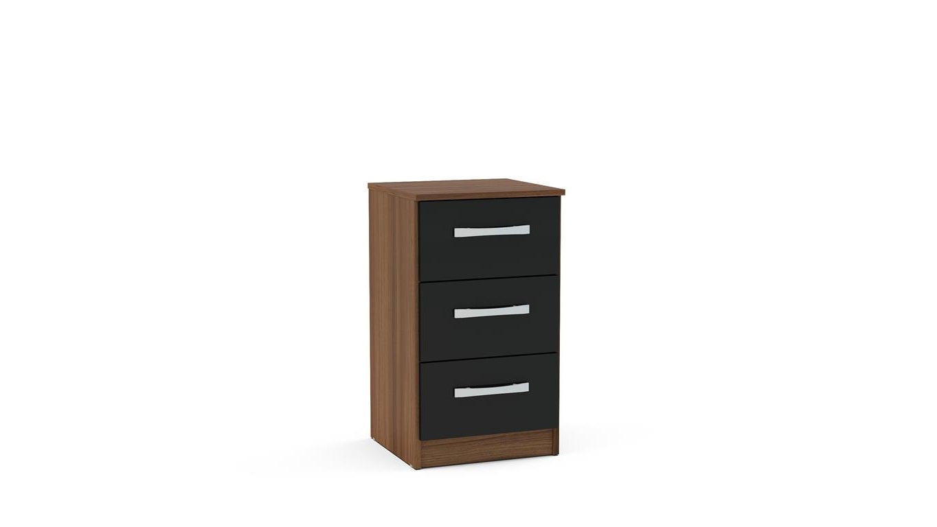 Heath 3 Drawer Bedside Cabinet in Walnut and Black - Ezzo