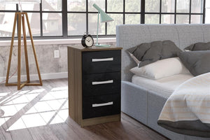 Heath 3 Drawer Bedside Cabinet in Walnut and Black