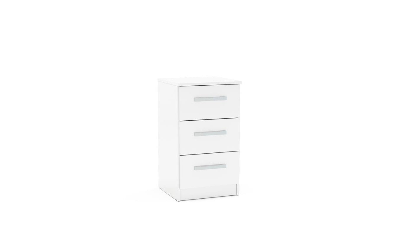 Heath 3 Drawer Bedside Cabinet in White - Ezzo