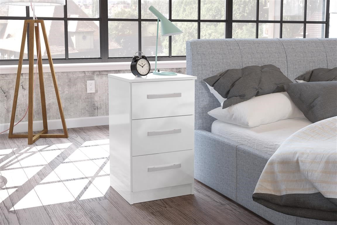 Heath 3 Drawer Bedside Cabinet in White
