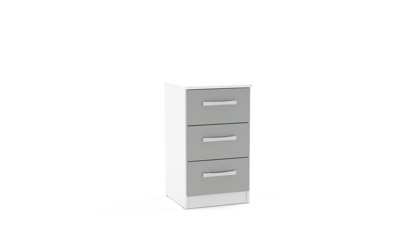 Heath 3 Drawer Bedside Cabinet in White and Grey - Ezzo