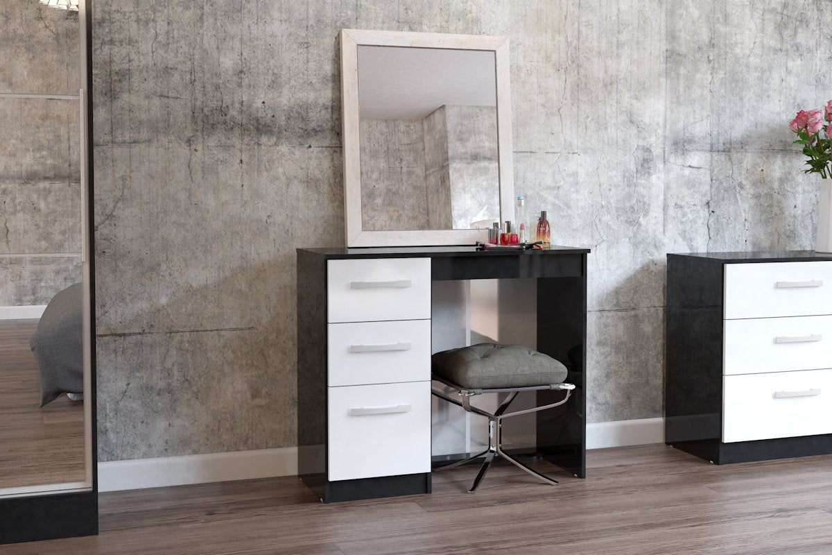 Heath 3 Drawer Dressing Table in Black and White