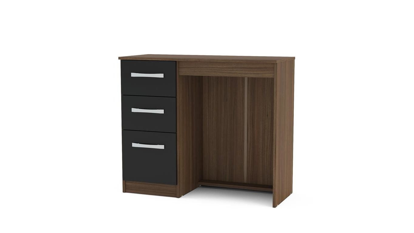 Heath 3 Drawer Dressing Table in Walnut and Black - Ezzo