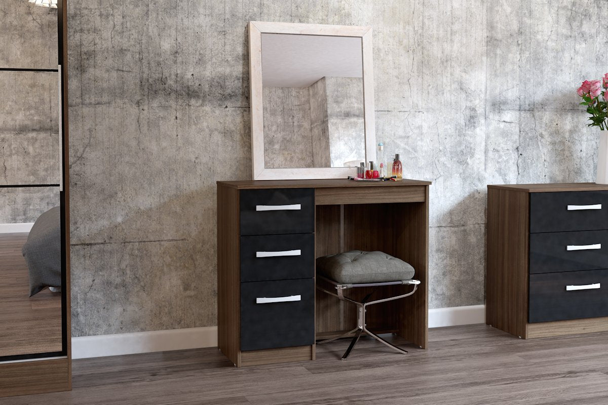 Heath 3 Drawer Dressing Table in Walnut and Black