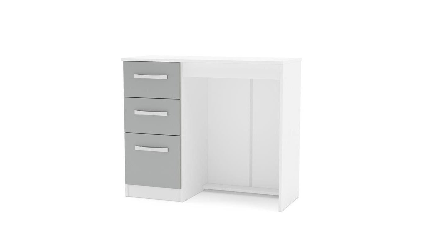 Heath 3 Drawer Dressing Table in White and Grey - Ezzo
