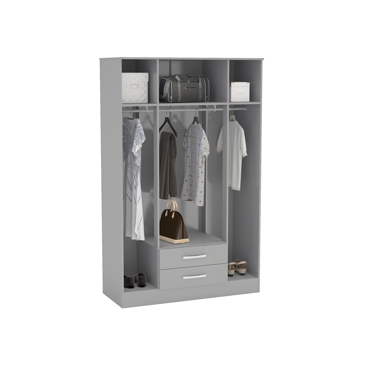 Heath 4 Door 2 Drawer Wardrobe with Mirror in Grey - Ezzo
