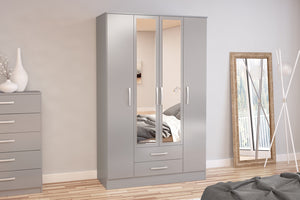 Heath 4 Door 2 Drawer Wardrobe with Mirror in Grey