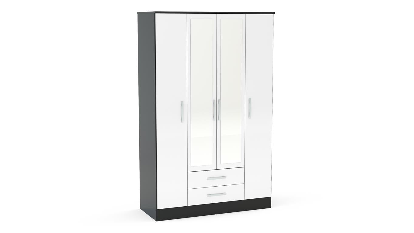 Heath 4 Door 2 Drawer Wardrobe with Mirror in Black and White - Ezzo