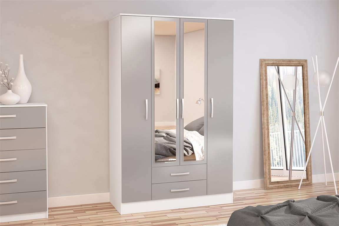 Heath 4 Door 2 Drawer Wardrobe with Mirror in White and Grey - Ezzo