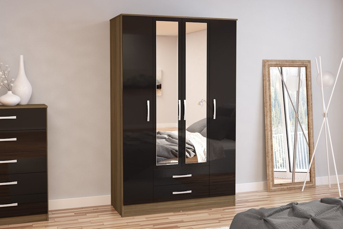 Heath 4 Door 2 Drawer Wardrobe with Mirror in Walnut and Black - Ezzo