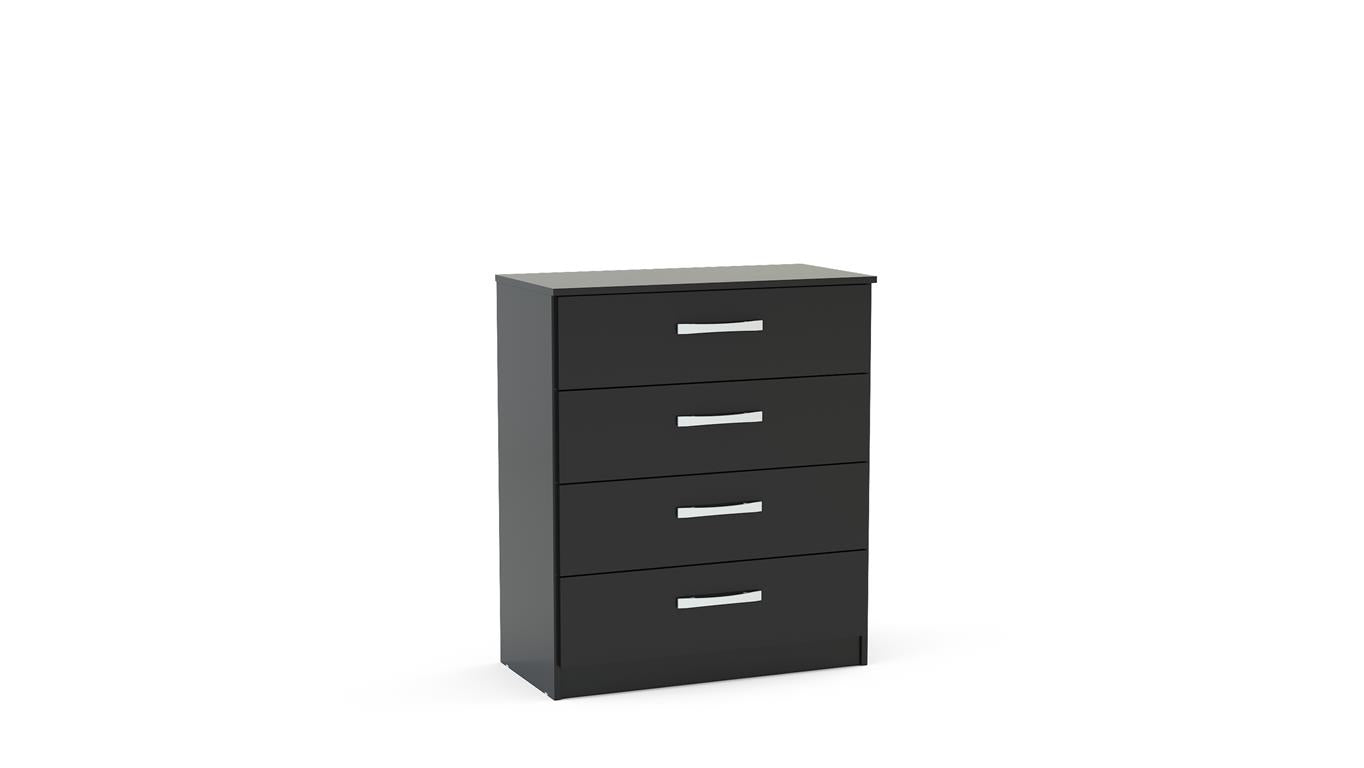 Heath 4 Drawer Chest in Black - Ezzo