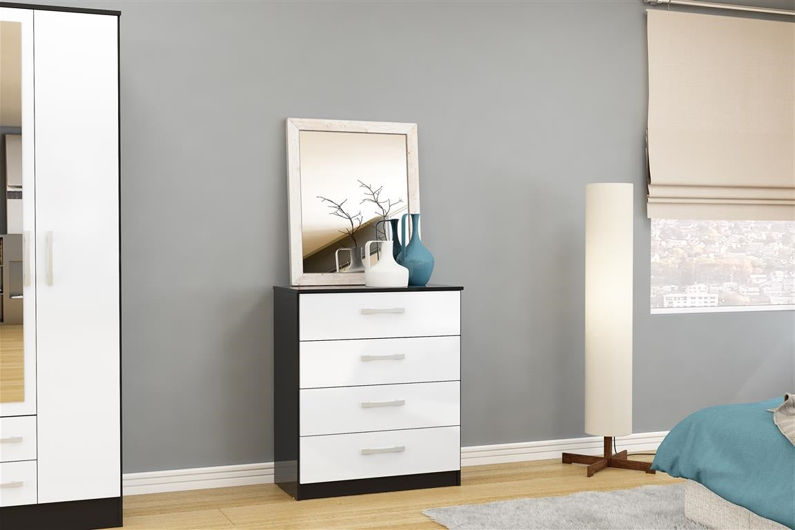 Heath 4 Drawer Chest in Black and White - Ezzo