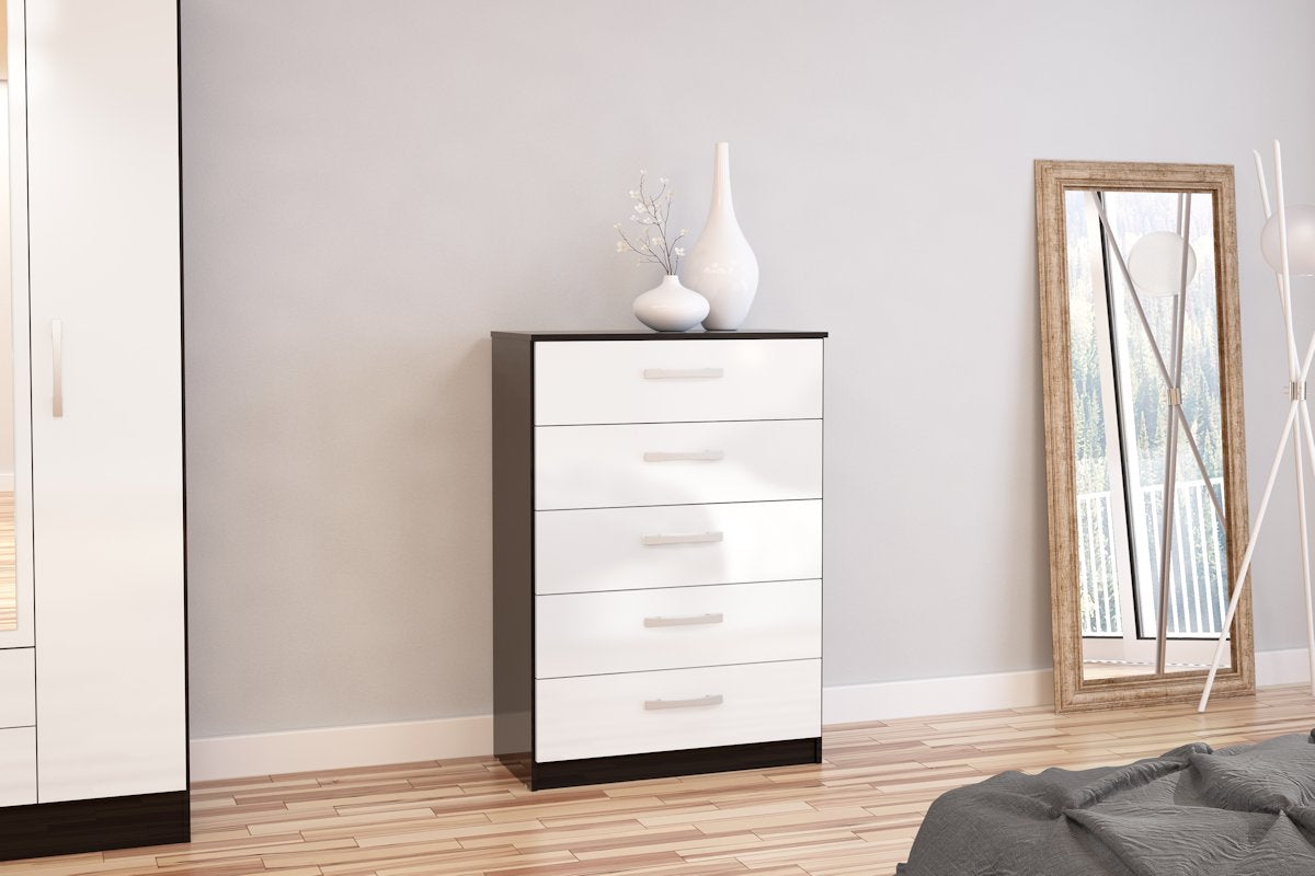 Heath 5 Drawer Chest in Black and White - Ezzo