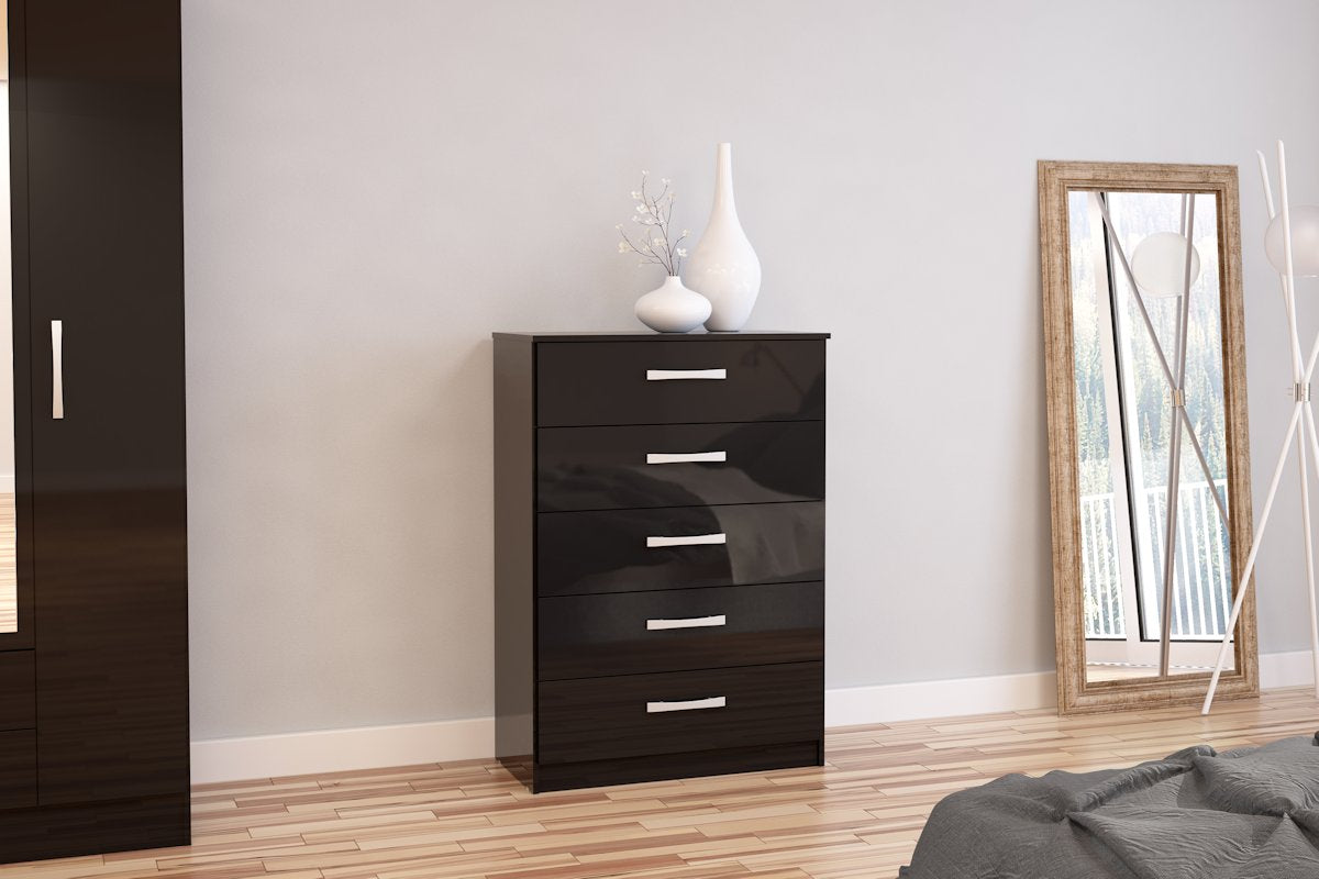 Heath 5 Drawer Chest in Black - Ezzo