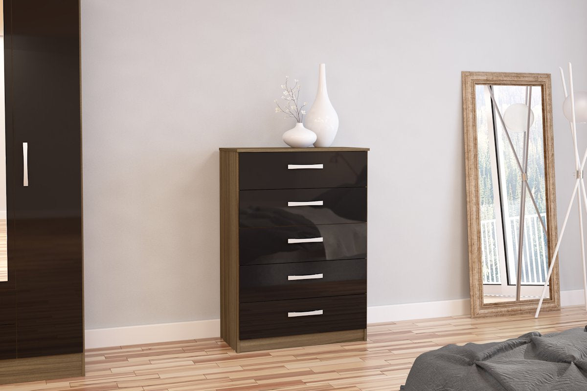 Heath 5 Drawer Chest in Walnut and Black - Ezzo