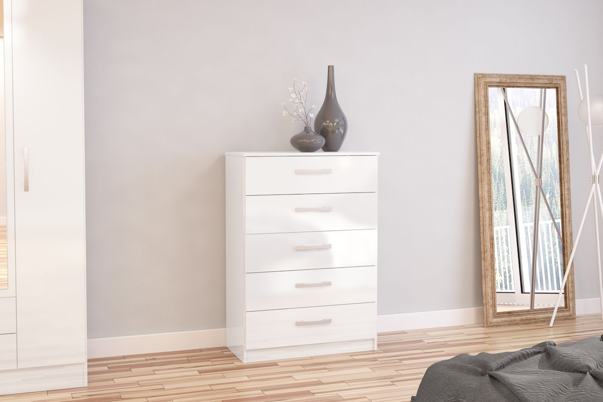 Heath 5 Drawer Chest in White - Ezzo