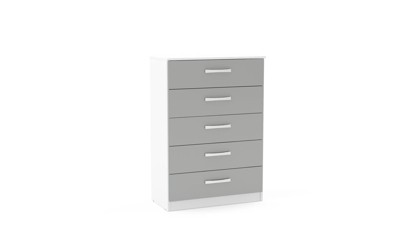 Heath 5 Drawer Chest in White and Grey - Ezzo