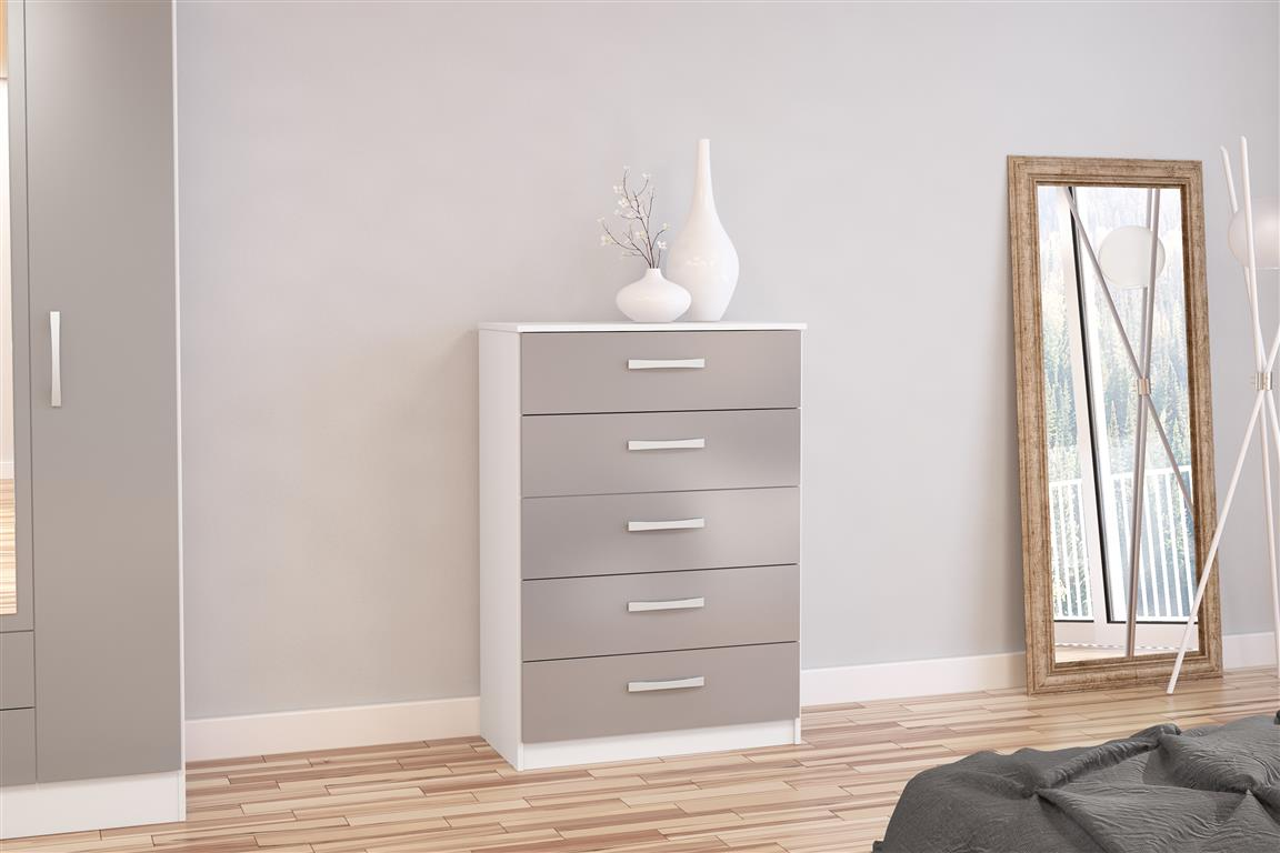 Heath 5 Drawer Chest in White and Grey