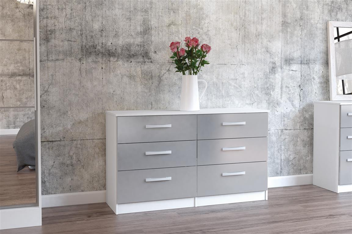 Heath 6 Drawer Chest in White and Grey