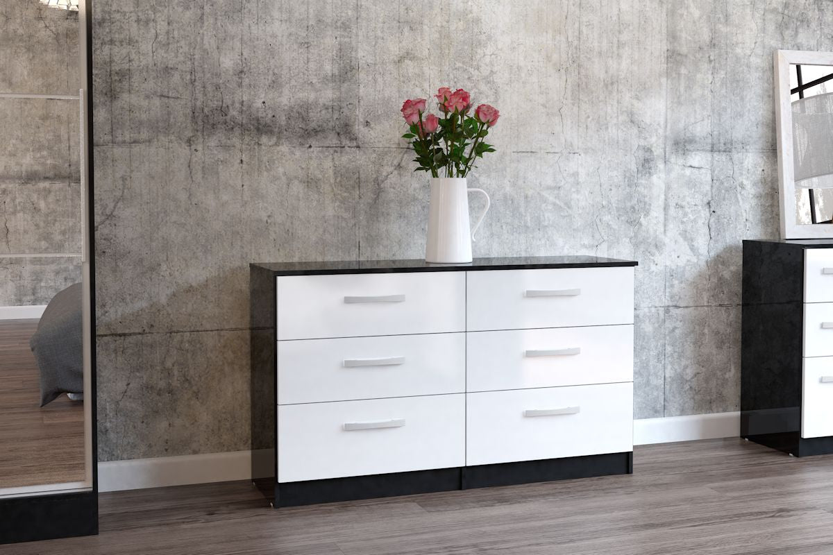 Heath 6 Drawer Chest in Black and White - Ezzo
