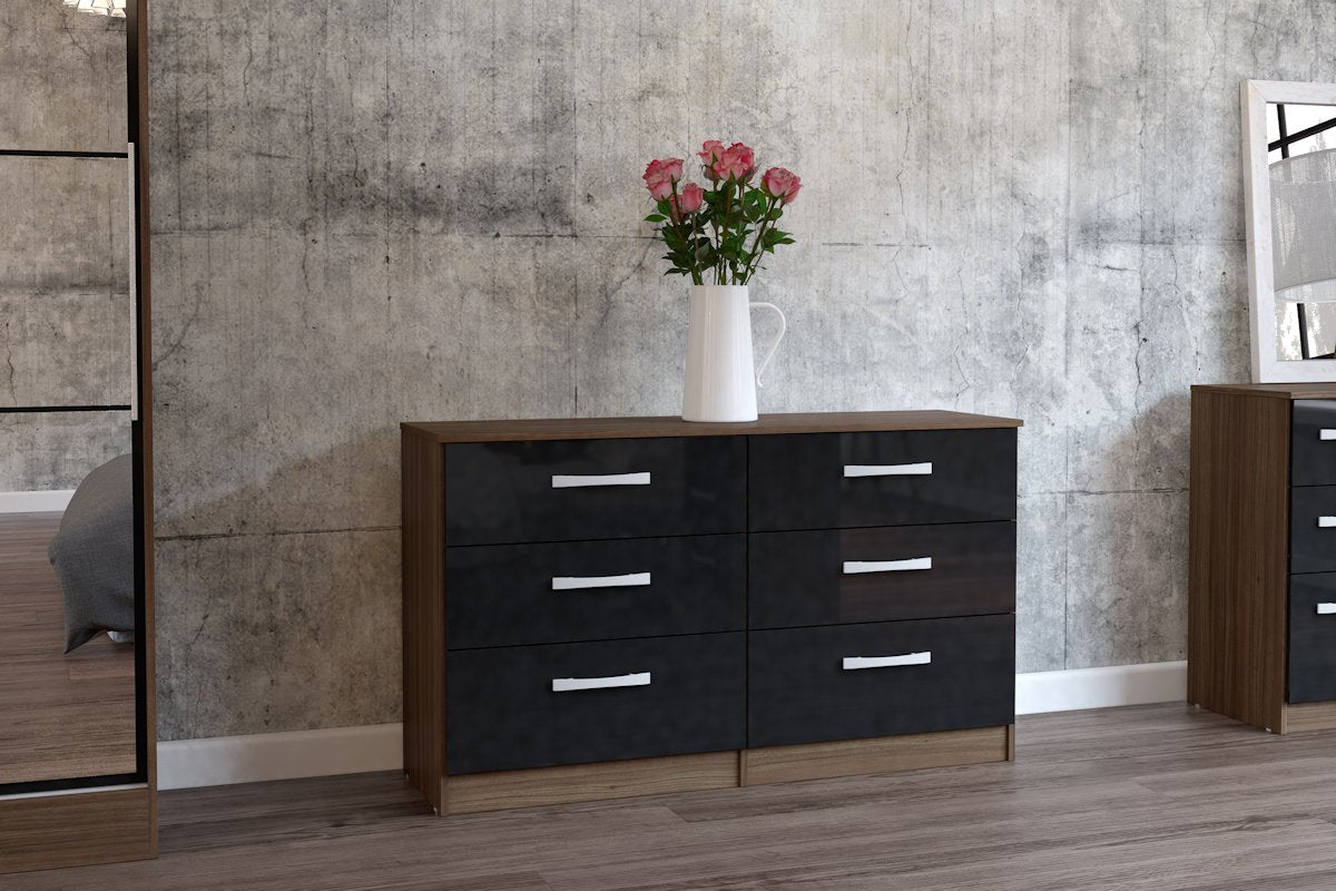Heath 6 Drawer Chest in Walnut and Black - Ezzo