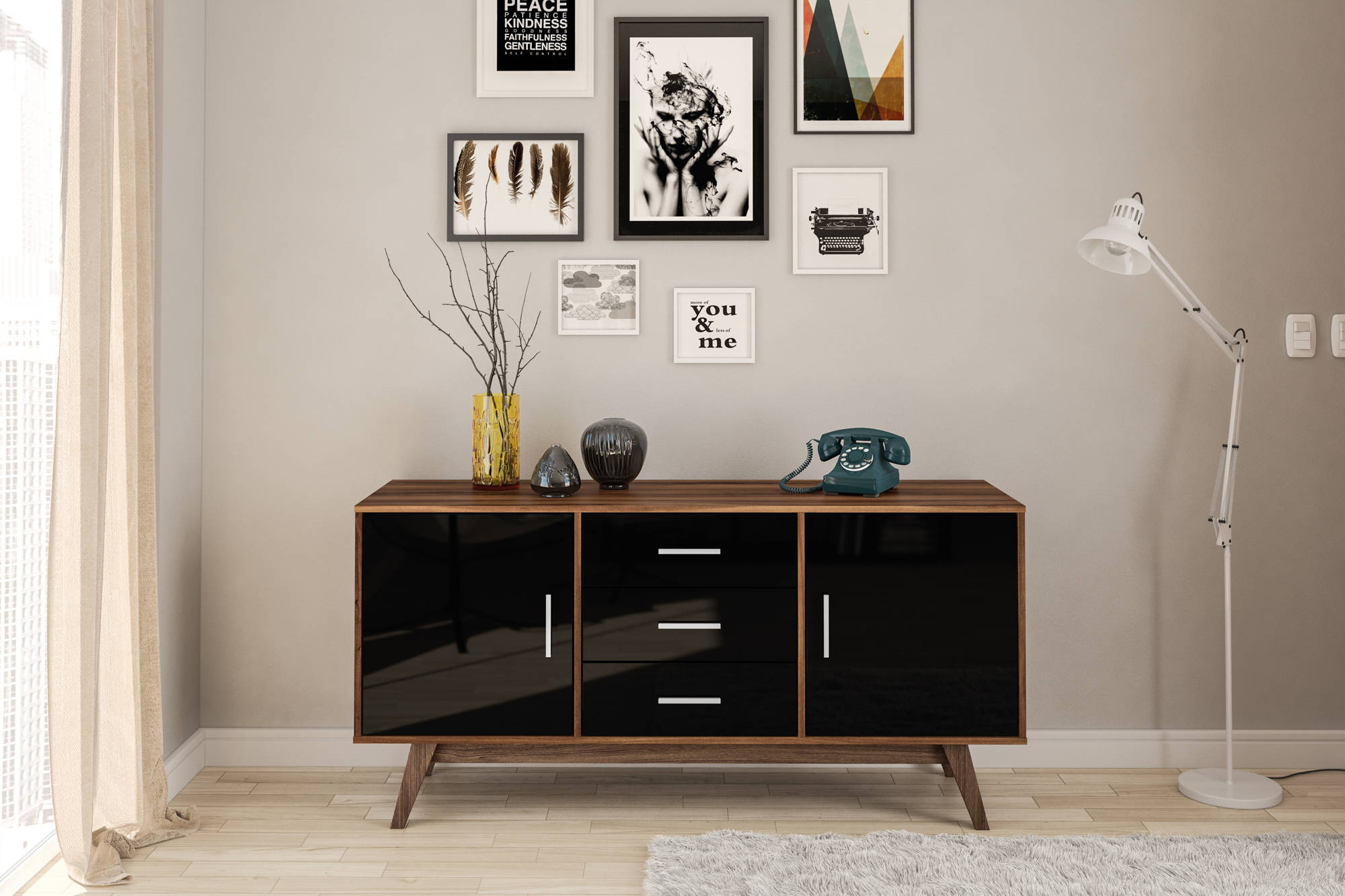 Hinde 2 Door 3 Drawer Sideboard in Walnut and Black