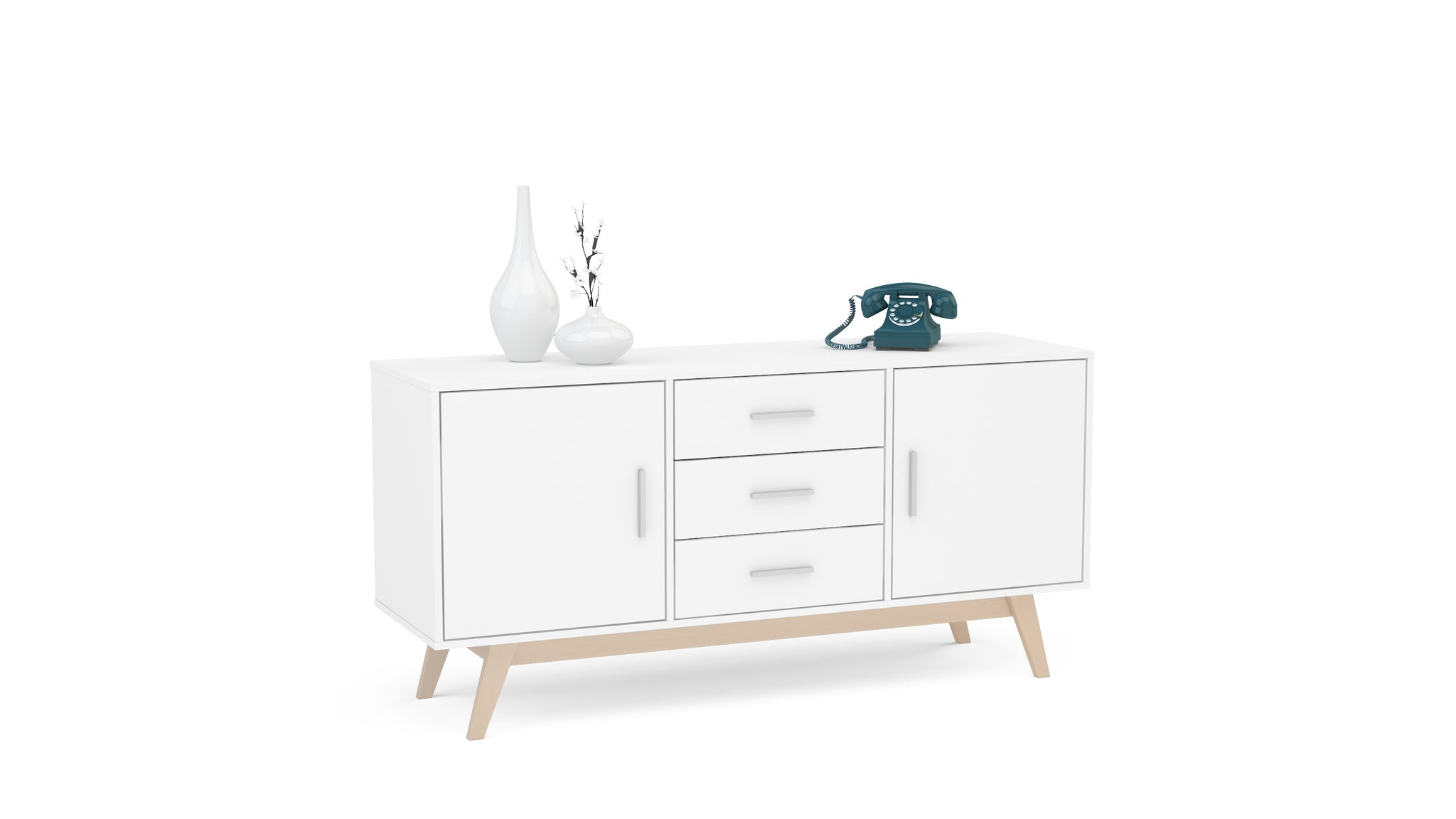 Hinde 2 Door 3 Drawer Sideboard in White