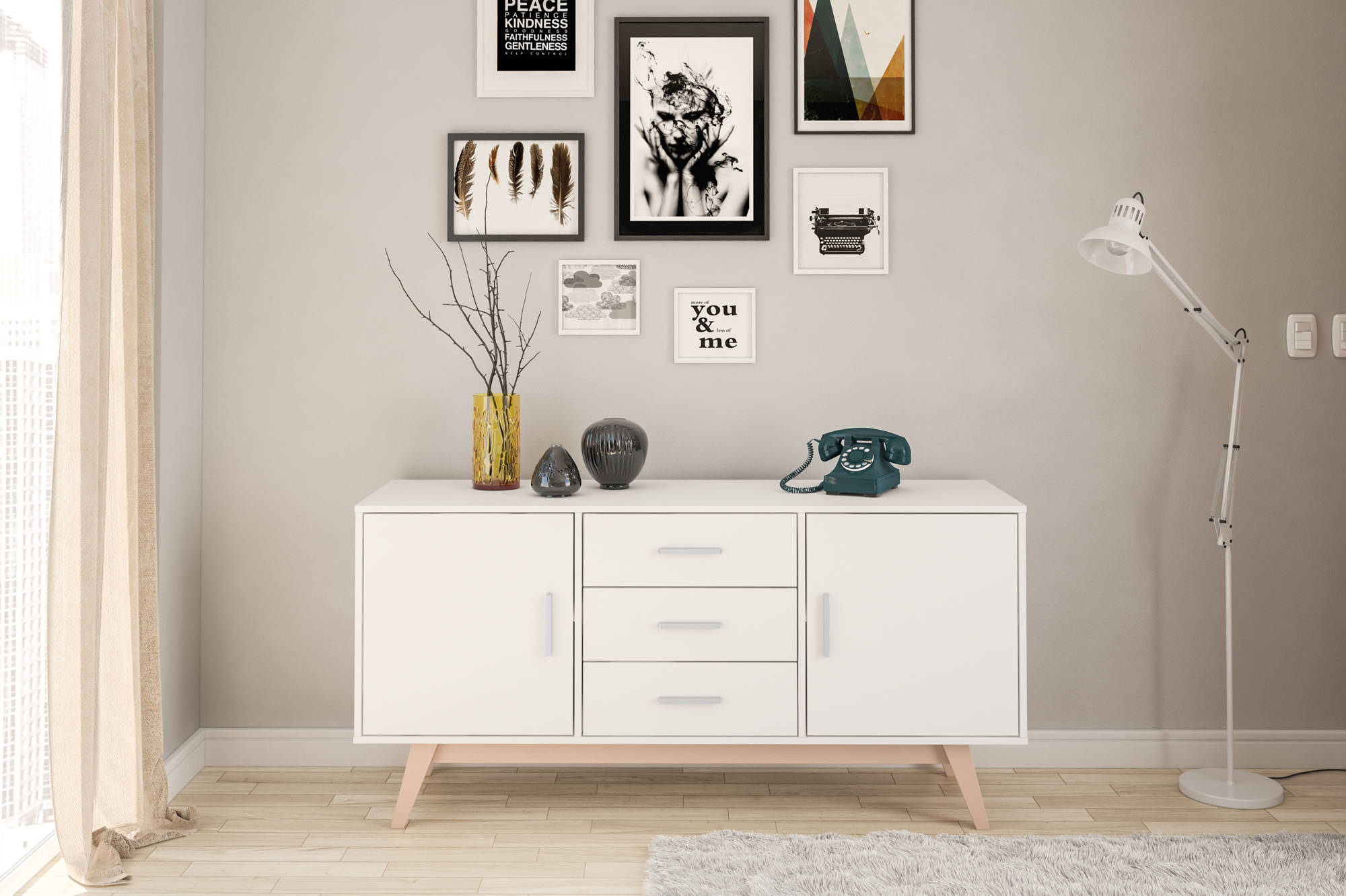 Hinde 2 Door 3 Drawer Sideboard in White - Ezzo
