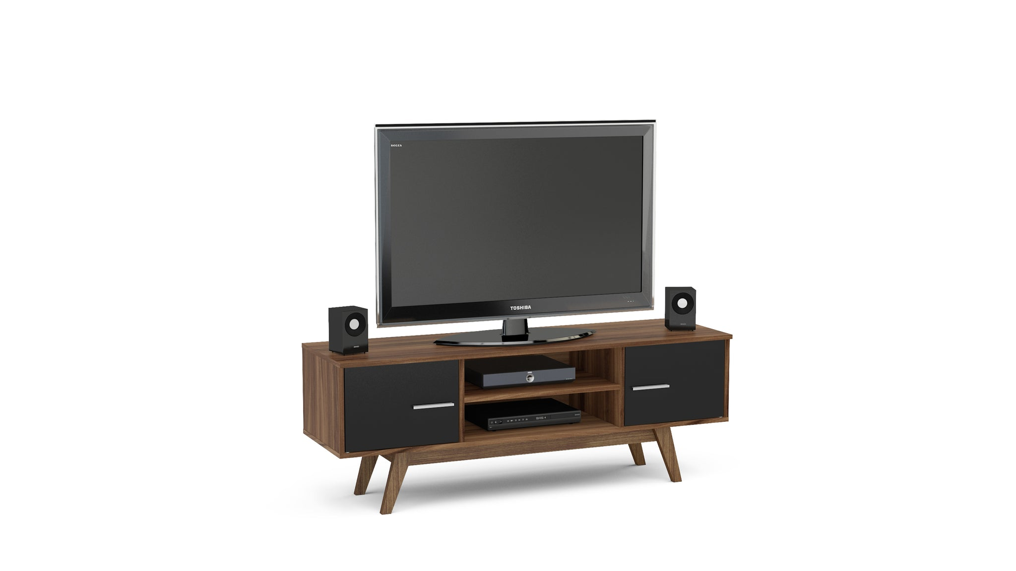 Hinde TV Unit in Walnut and Black - Ezzo