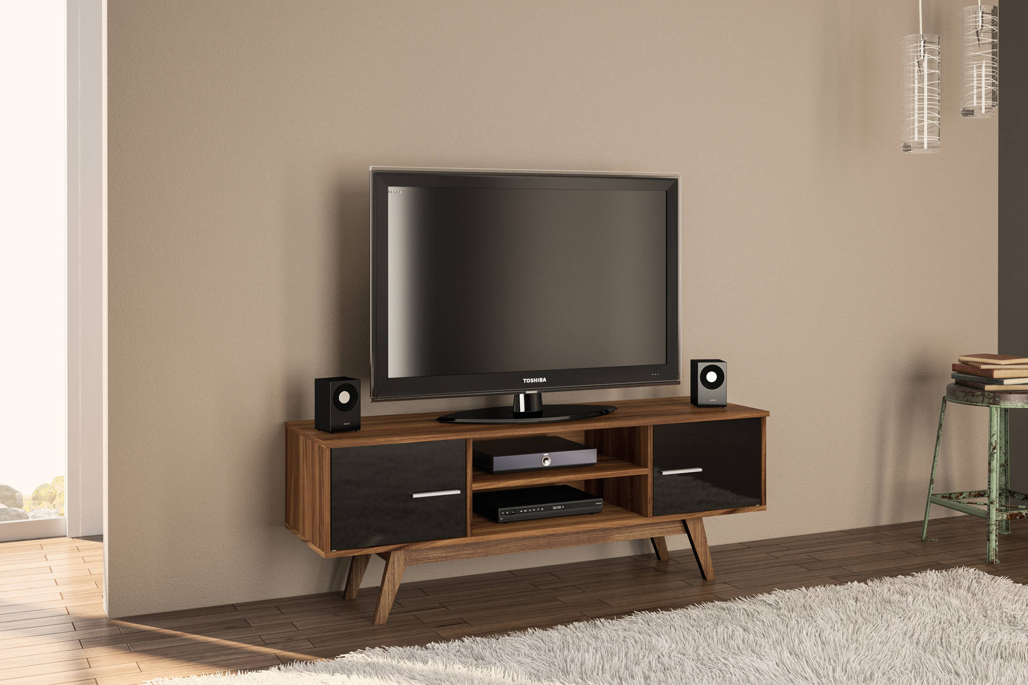 Hinde TV Unit in Walnut and Black